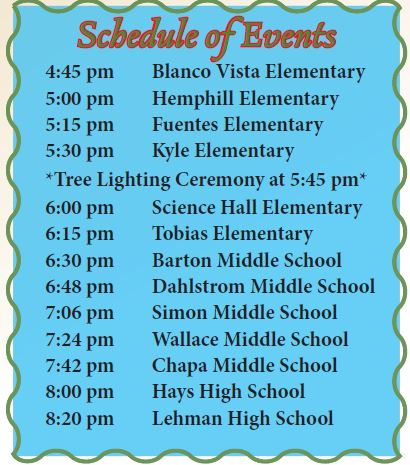 Hays CISD Choir Schedule Santa Arrival and Tree Lighting